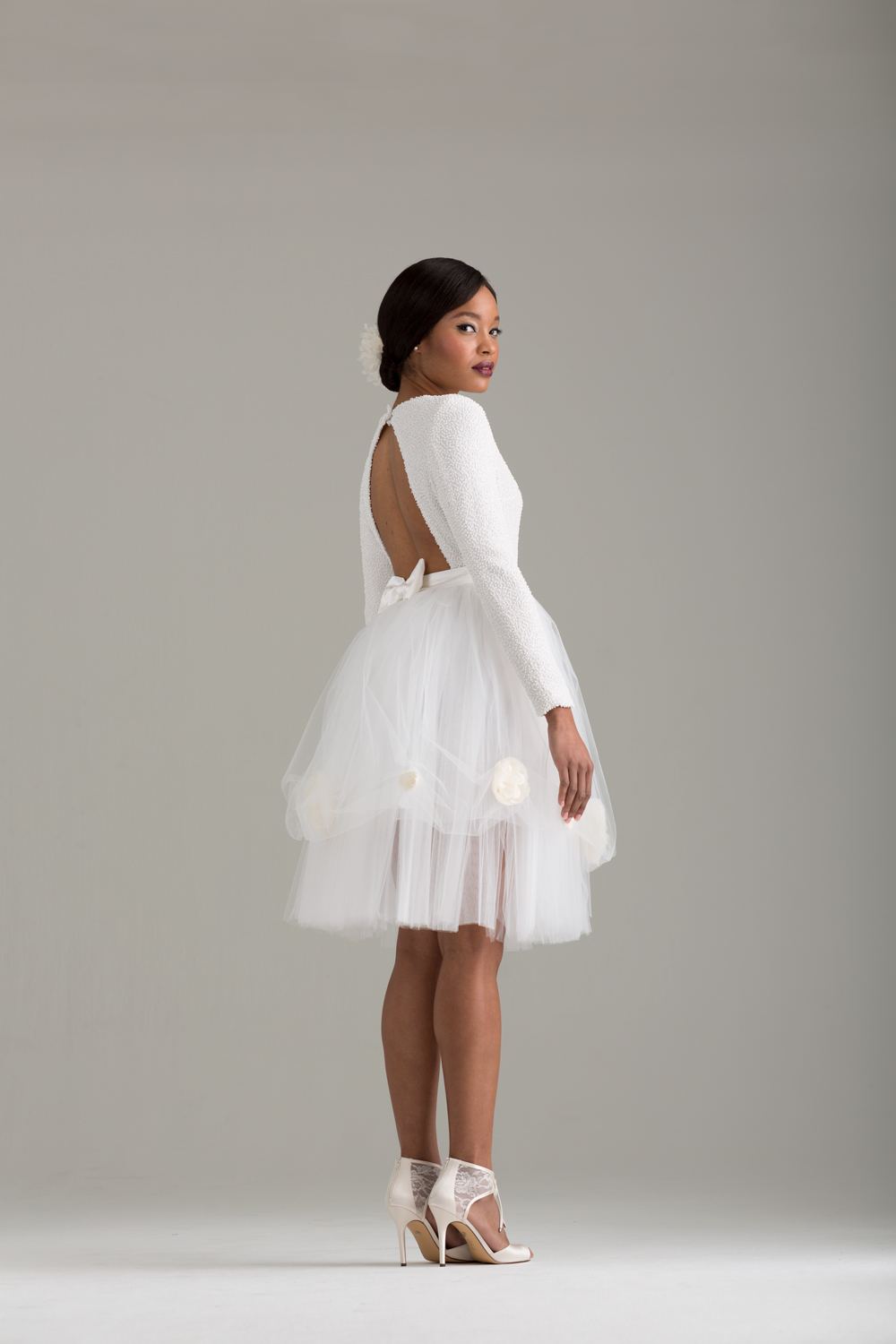 "NKB17-81003    ""Caryophyllales"" White Beaded Top with Cut Out Back &  NKB17-83002  ""Peony"" White Tulle Skirt"