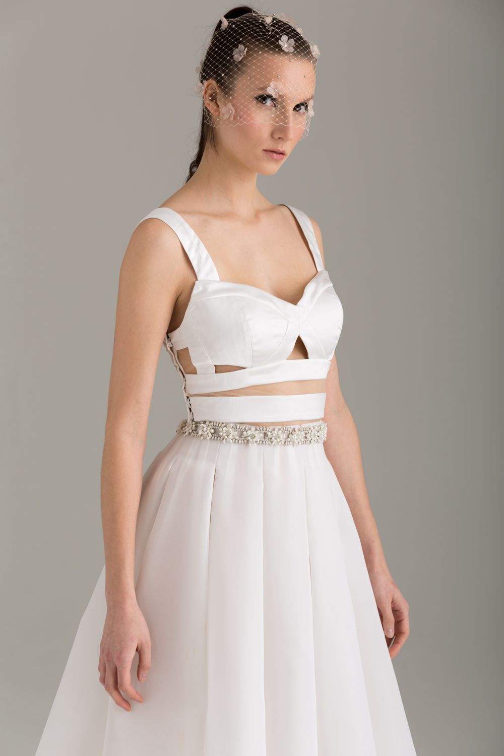 "NKB17-81002    ""Apoidea"" Satin and Mesh Crop Top &  NKB17-83006  ""Magnolia"" White Silk Gazar Multi Layers Pleat Skirt"