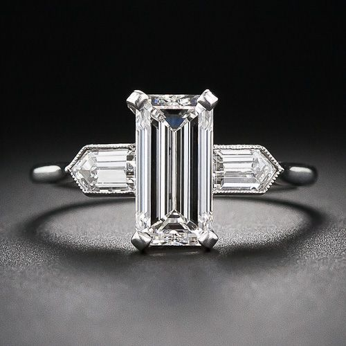 2.05 Carat (G-VS2) Emerald-Cut Diamond Art Deco Engagement Ring