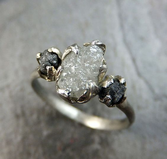 Diamond Engagement Ring Rough Uncut 14k White Gold Wedding Ring Wedding Set Stacking Ring Rough Diamond Ring 3 stone byAngeline Raw Organic