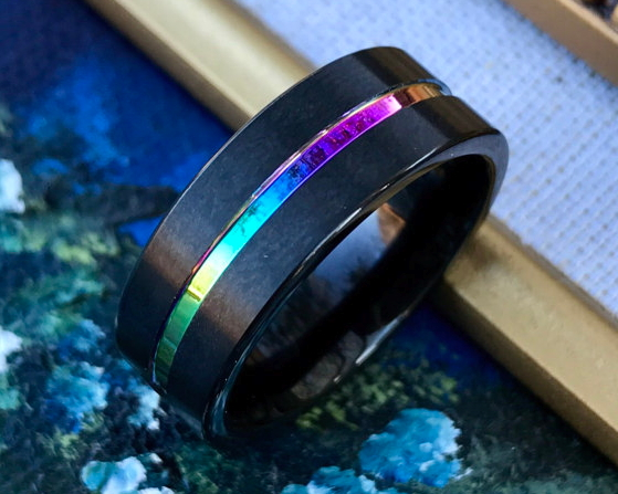 Rainbow Tungsten Ring  by NefesTreasures on Etsy
