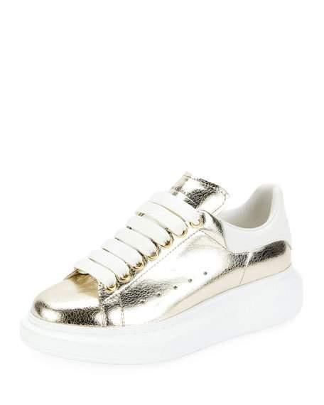 Alexander McQueen Metallic Lace-Up Platform Sneaker   $575.00