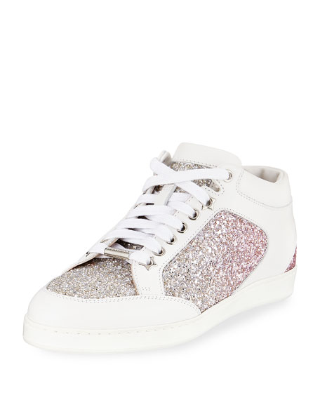 Jimmy Choo Miami Leather and Glitter Sneaker   $595.00