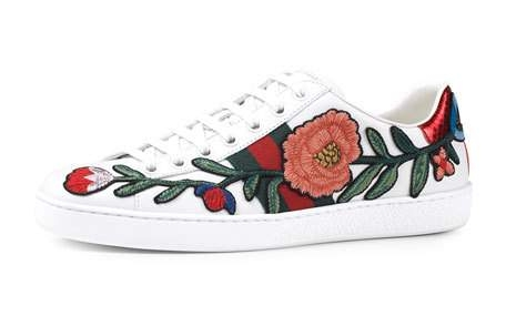 GUCCI New Ace Floral-Embroidered Low-Top Sneaker    $730.00