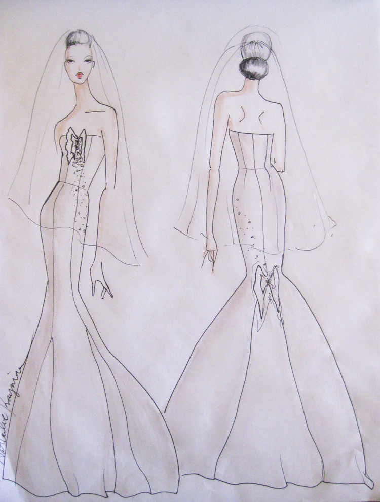 The Process: Coming Up With The Design - When creating a custom bridal dress, you have the opportunity to make anything you want – anything you can imagine. I know this is kind of self-explanatory, but when planning a wedding we often think about finding the perfect dress first, and then the rest of the wedding theme is dictated by its design….