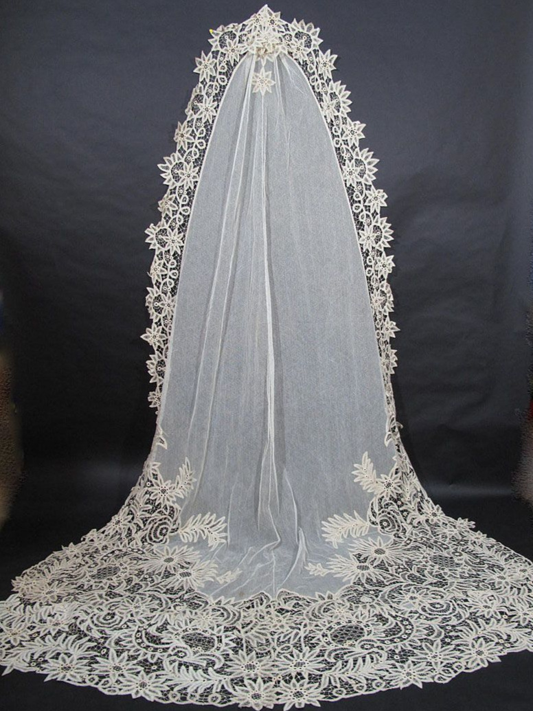 Circa 1900s Battenberg Lace Cathedral Veil