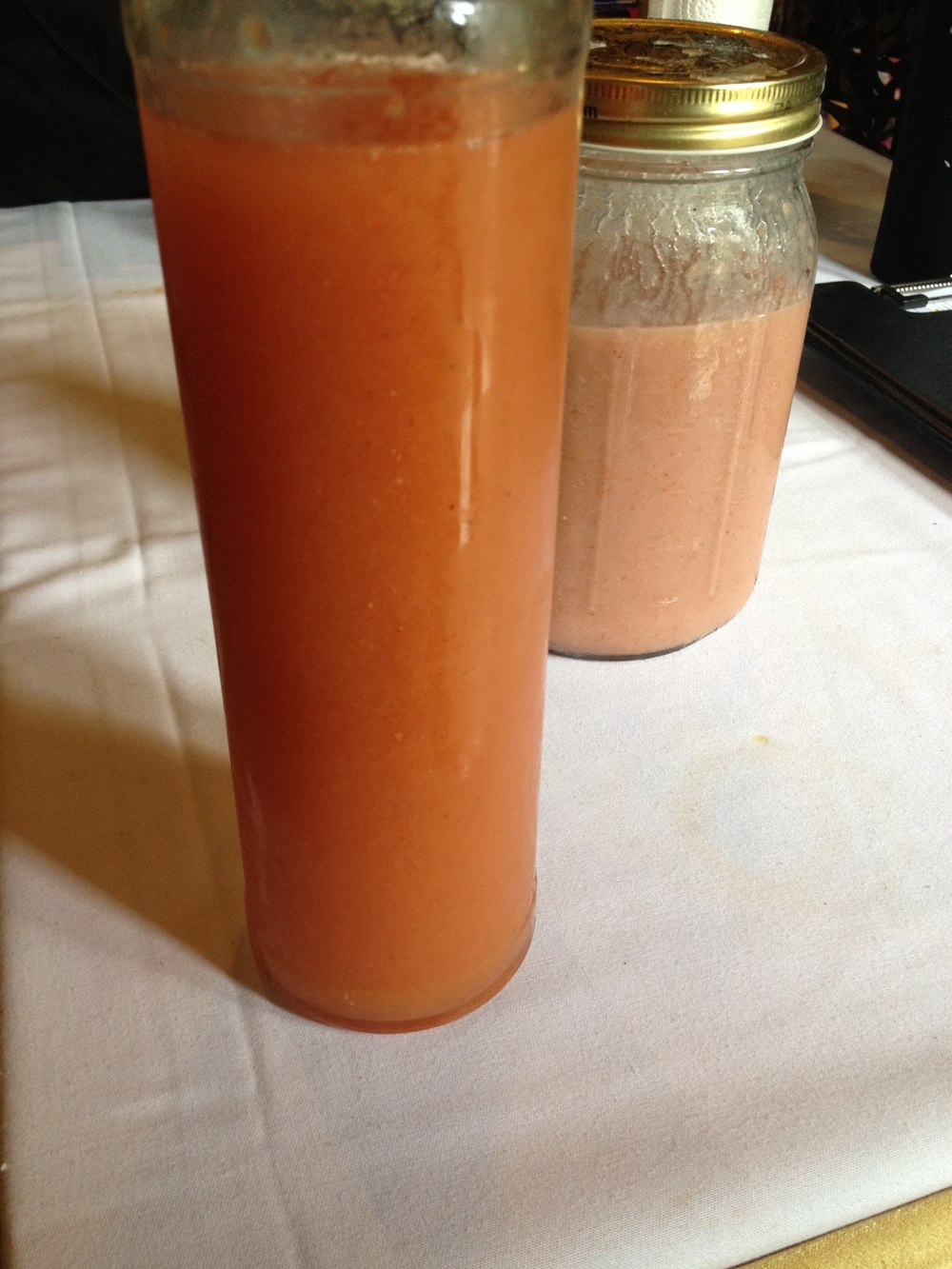 Juice!...after water is AMAZING!  I remember from my fasts plus the clients have been telling me all day :) (smoothie in the background which is for the crew)