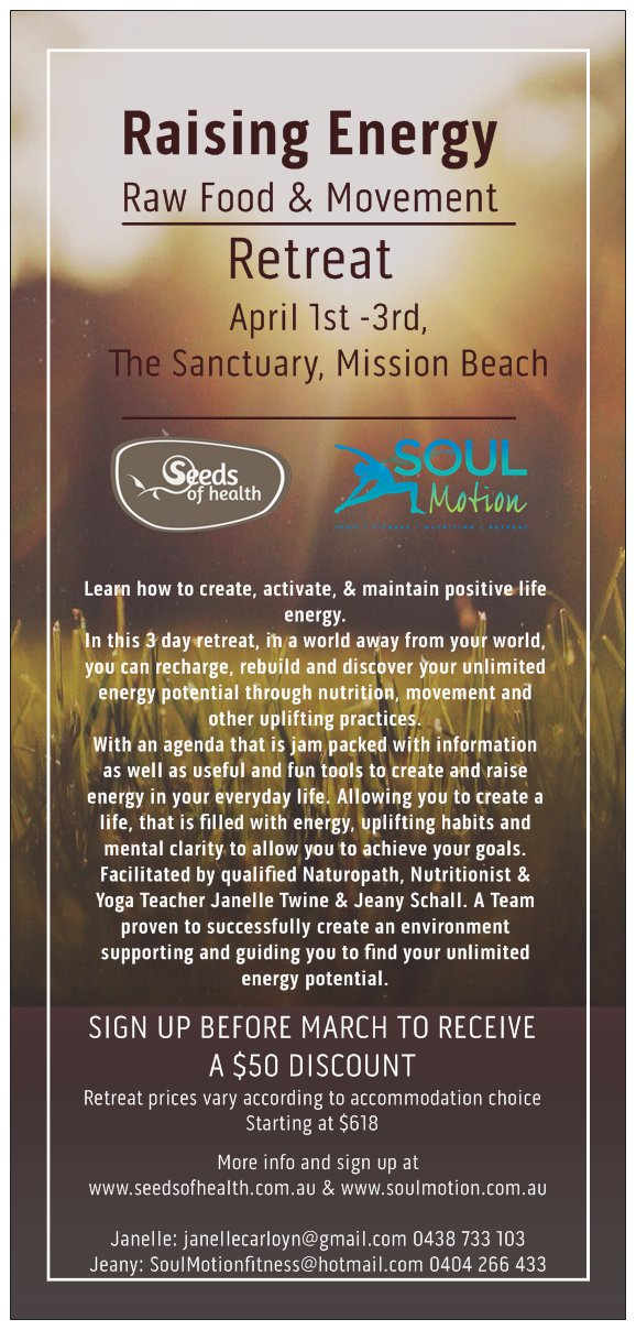 3 DAY RETREAT IN MISSION BEACH - April 1,2,3rd.  Raise your energy!