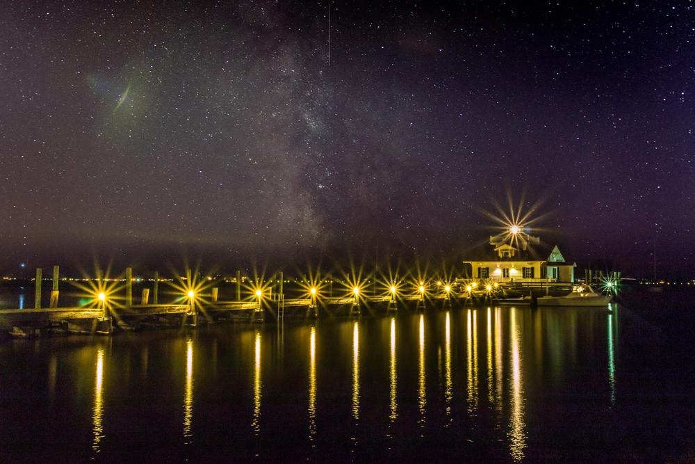 Roanoke Marsh Lighthouse under Stars