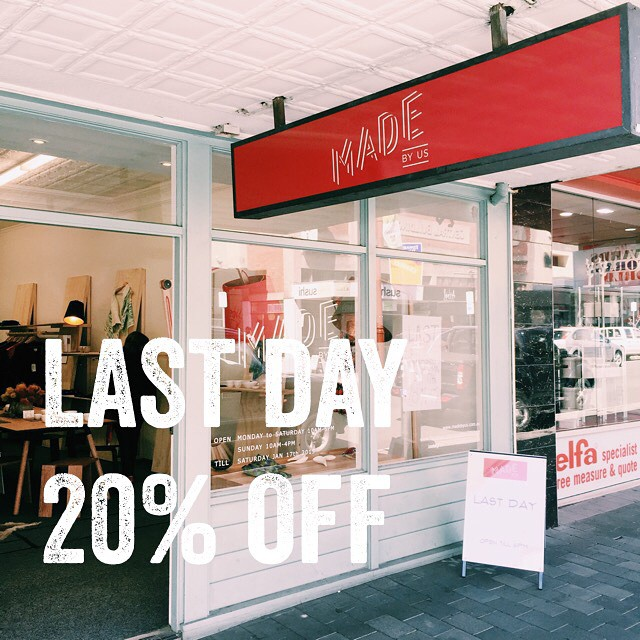 This is it folks, last day today! 20% off most floor stock. #tasdesigned #hobartmade #discovertasmania