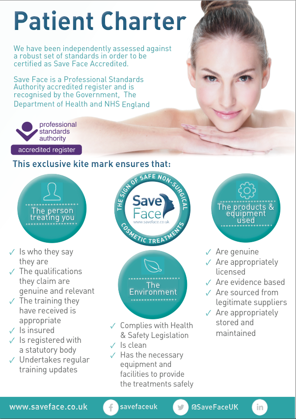 Juno Aesthetics has been validated and accredited by Save Face and meets the Consumer Checklist