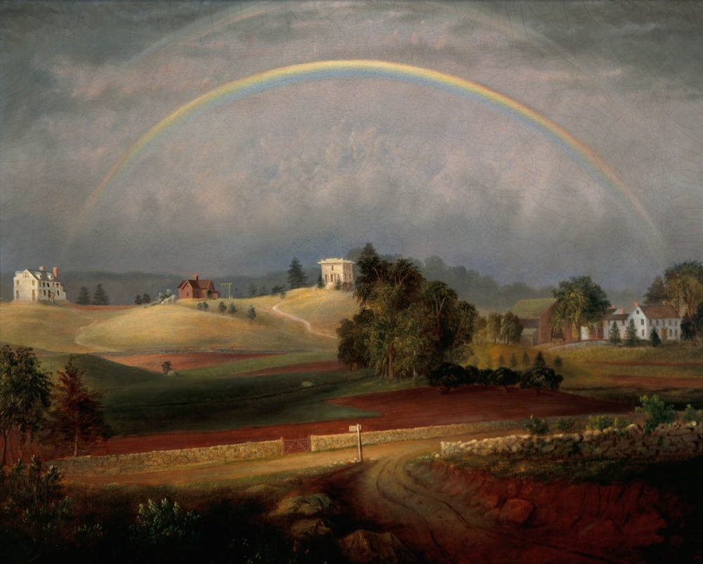 1845 painting of Brook Farm by Josiah Wolcott.
