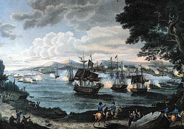 Naval battle on Lake Champlain. By B. Tanner