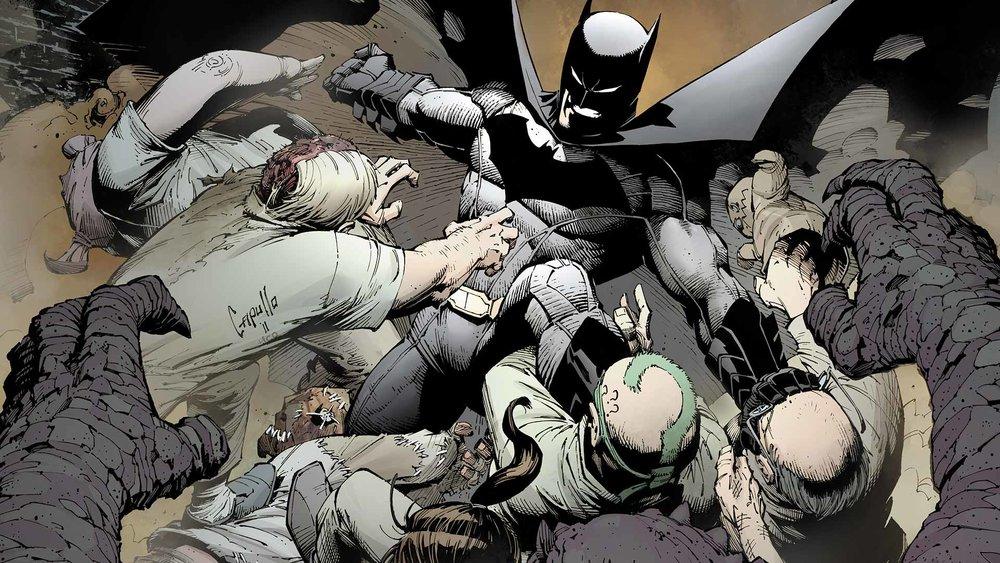 Batman fighting baddies.