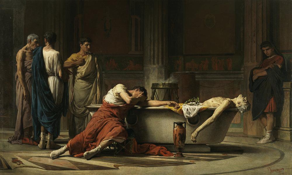 Romanticised depiction of Seneca's succide.