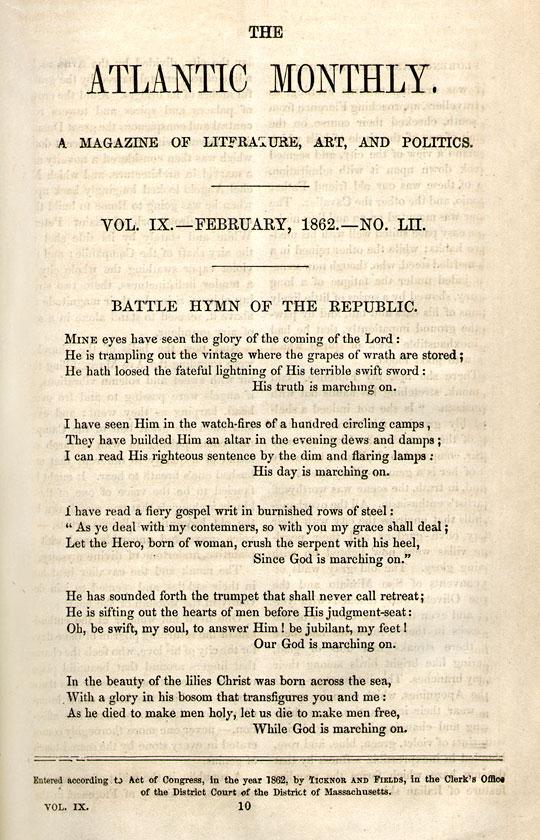 The Poem - 'The Battle Hymn of the Republic', By Julia Ward Howe.