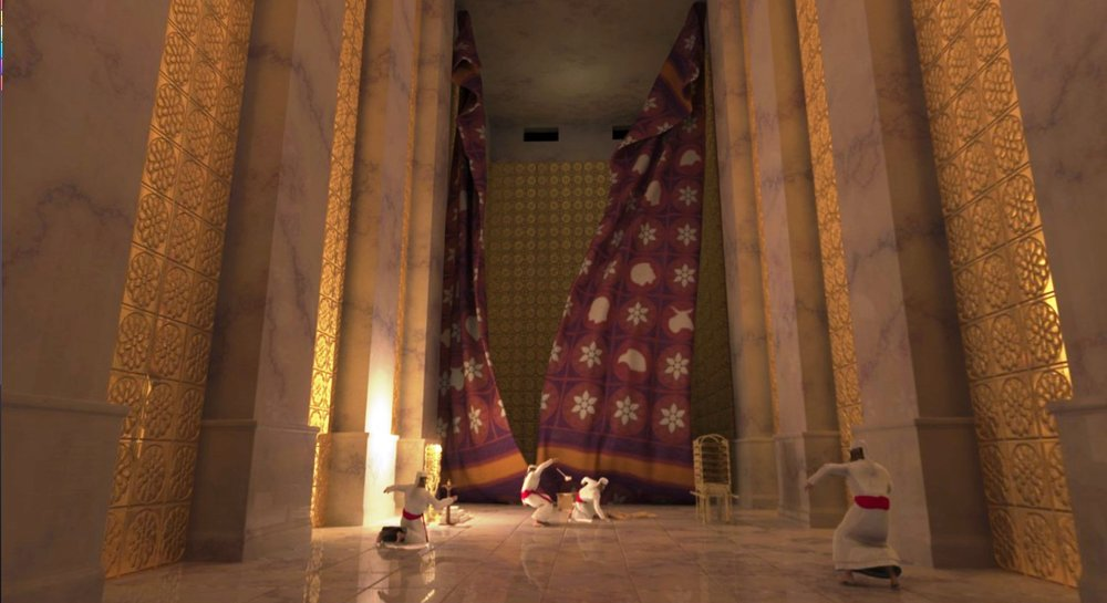 Dramatic representation of the Temple curtain tearing.