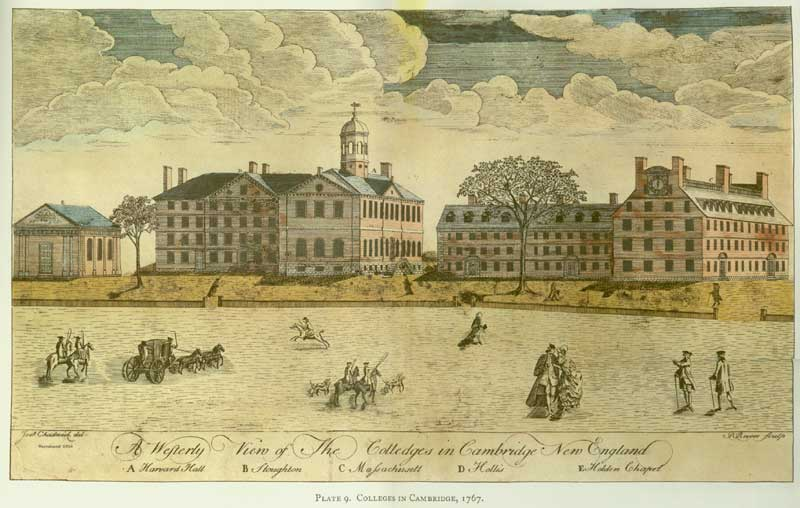 Engraving of Harvard College, 1767