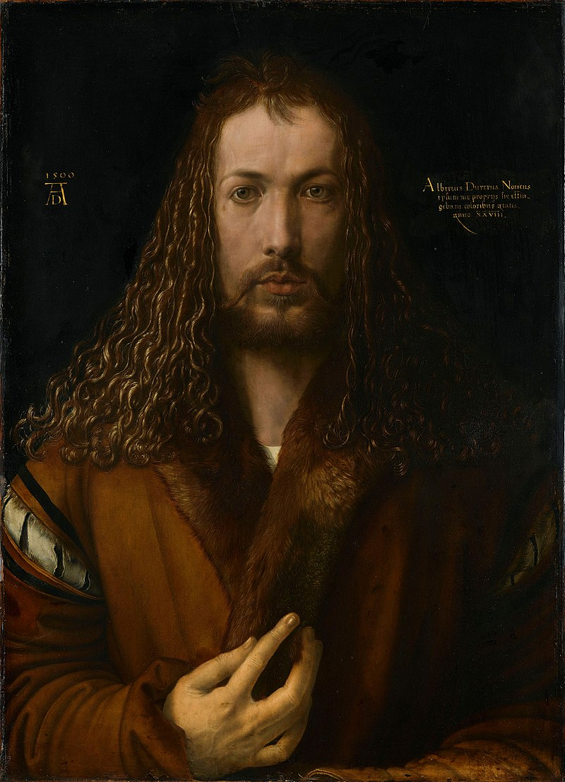 A self-portrait of Dürer, striking as he styslises himself on Christ.