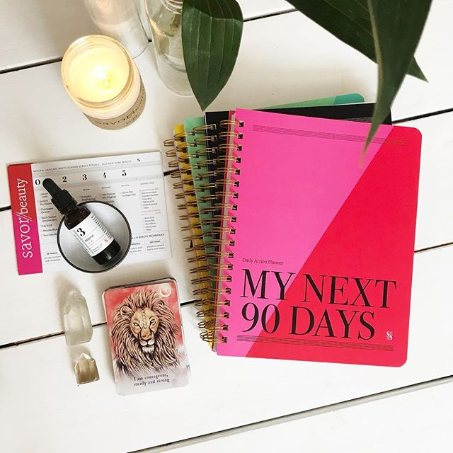 Super excited for our #newmoon party on Wednesday to celebrate the launch of the #dailyactionplanner! Tix are sold out but please join us via #instagramlive starting at 6:30pm via @dailyactionplanner! 🌙 I will share how to create your personal mantra to #manifest your best self in the next 90 days. 💕 #savorbeauty