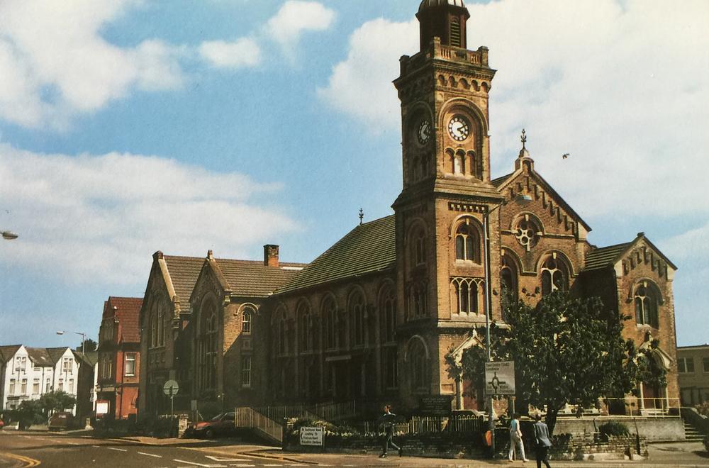 An early colour postcard of the church