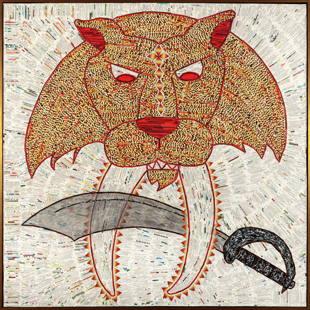 "Sabre-toothed Cat with Sword / mixed media on tyvek framed / 60"" x 60"""