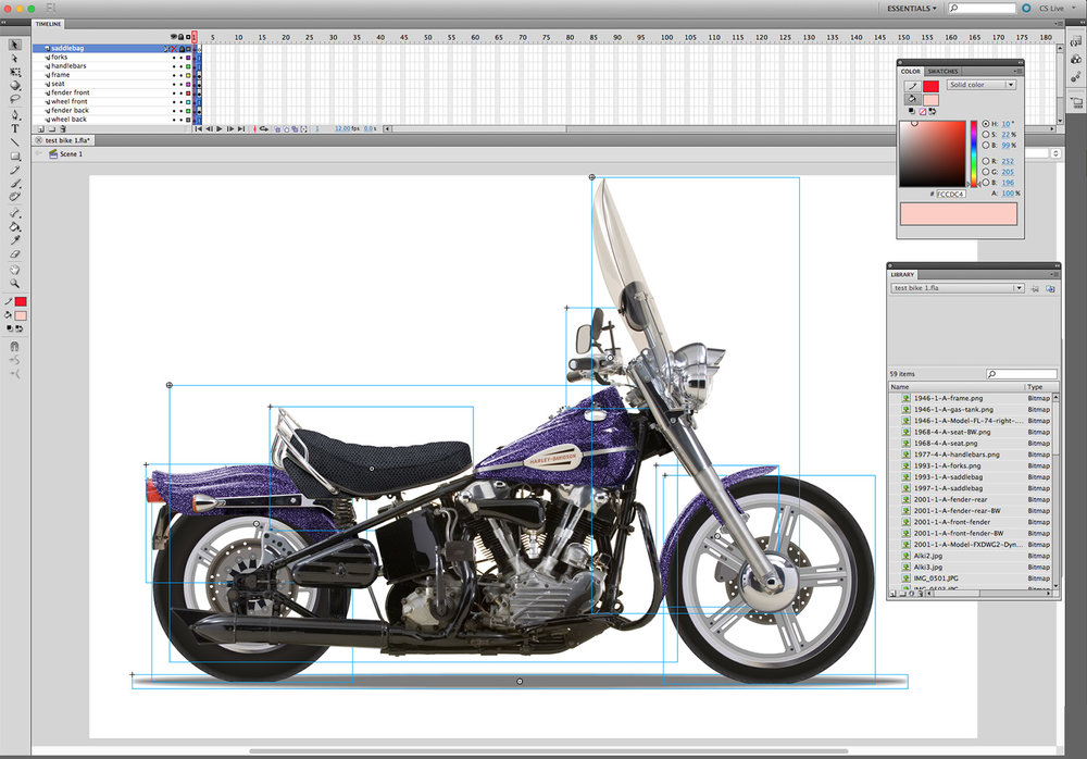 Work environment featuring illustration & photography elements / Custom Bike Build interactive game Agency: Belle & Wissell Client: Harley-Davidson Museum (2008)