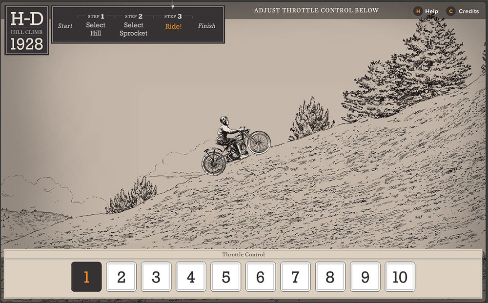 Illustrated components / Interactive Hill Climb Simulator   Agency: Belle & Wissell   Client: Harley Davidson Museum (2007)