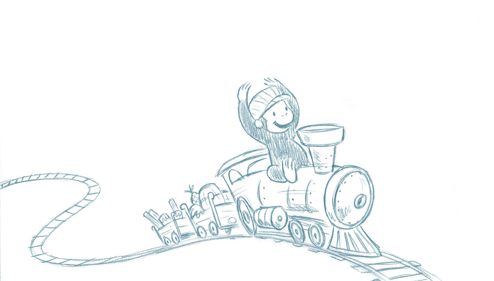 Concept sketch / Curious George Train Adventures iOS game Agency: Smashing Ideas Client: Houghton Mifflin Harcourt (2016)