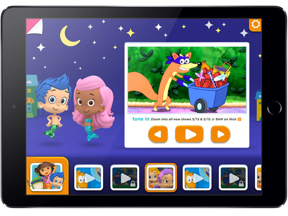 UI design iteration for iPad / Nick Jr. app Agency: Smashing Ideas Client: Nick Jr. (2013)