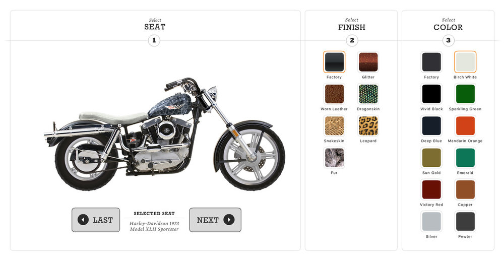 Interface with illustrated bike components / Custom Bike Build interactive game Agency: Belle & Wissell Client: Harley-Davidson Museum (2008)