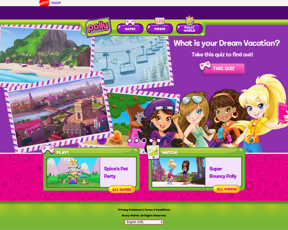 UI design & layout / Polly Pocket website Agency: Smashing Ideas Client: Mattel (2011)