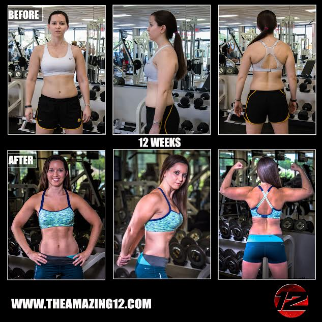 I started The Amazing 12 to gain strength and muscle definition. I have always felt so weak in my upper body. I am now thankful and quite proud to say I have lost 4 pounds of fat and gained the upper body strength I have always lacked. Throughout this process I have not only gained beautiful sculpted muscles but I have gained the confidence to show them off! I can now successfully complete multiple chin-ups, something I didn't ever think possible! Thank you Amanda and The Amazing 12 for helping me gain strong, beautiful confidence! I would highly recommend this program for anyone, from those like me, the skinny girl that wants to get strong, to the person that has never really worked out before! It can and will work for you when you put forth the work and give it everything!  -Ariel Gardner
