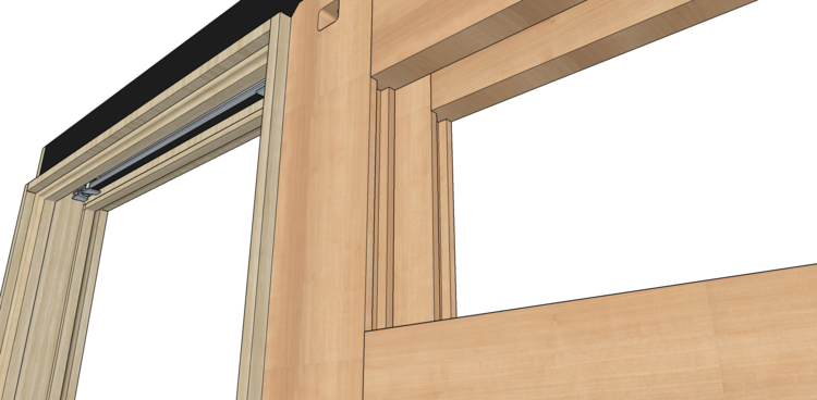 Also because the frame structure is 100% solid wood you can easily and securely nail/screw things into the frame through drywall.  sc 1 th 157 & Bourget Pocket Door Frames