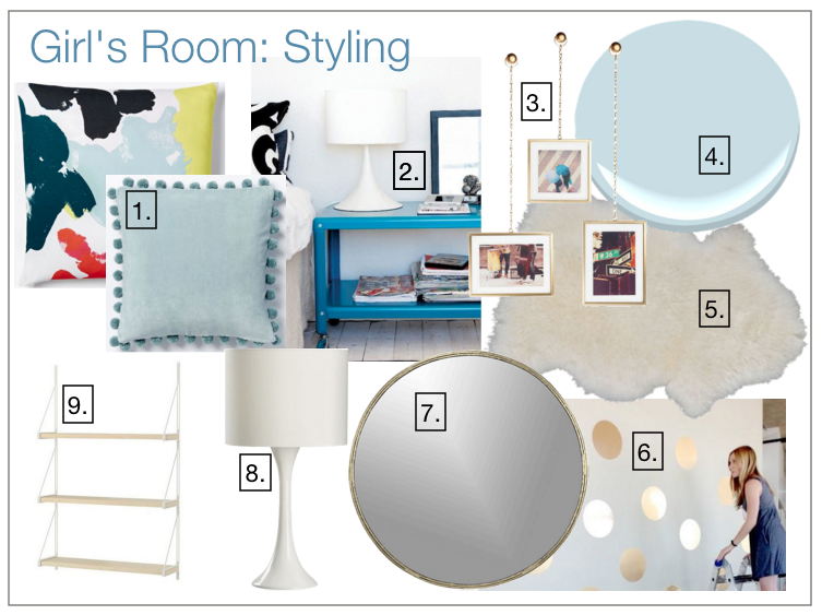 Girl's room design board.