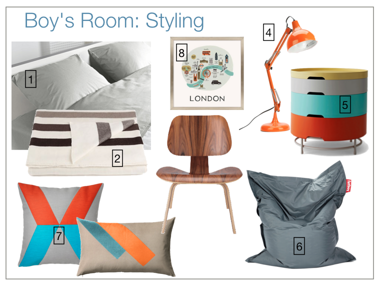 Boy's room design board.