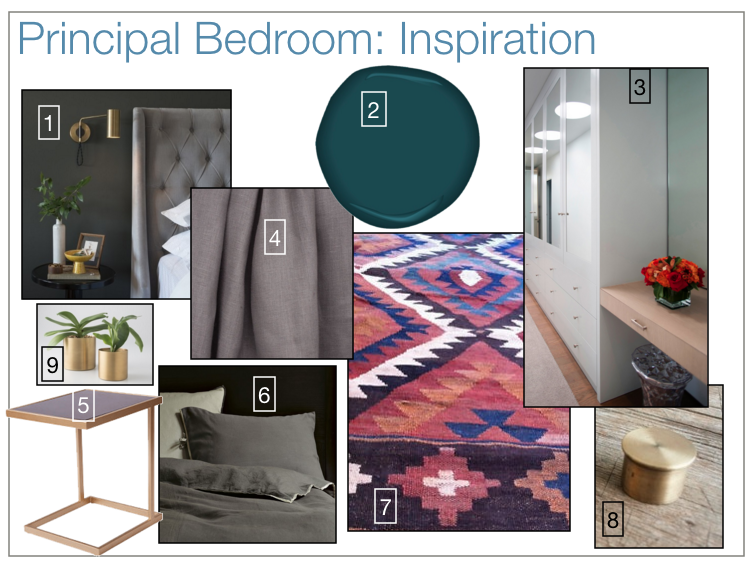 Principal bedroom design board.