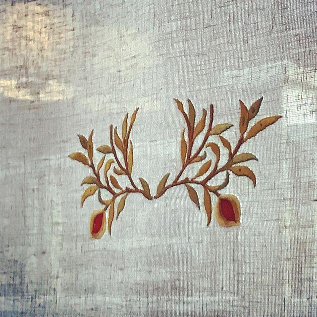 "Pomegranate design for Arts and Crafts home window panels is based on William Morris's ""Birds and Pomegranate"" wallpaper. By Emme Design . . . . . . #customwindowpanels #customsheers #customembroidery #pomegranate #williammorris #wallpaper #ineriordesign #interiordesigner #torontointeriors  #perioddecor #historicdesign #artsandcdafts #cafecurtains #windowcoverings #windowtreatments"