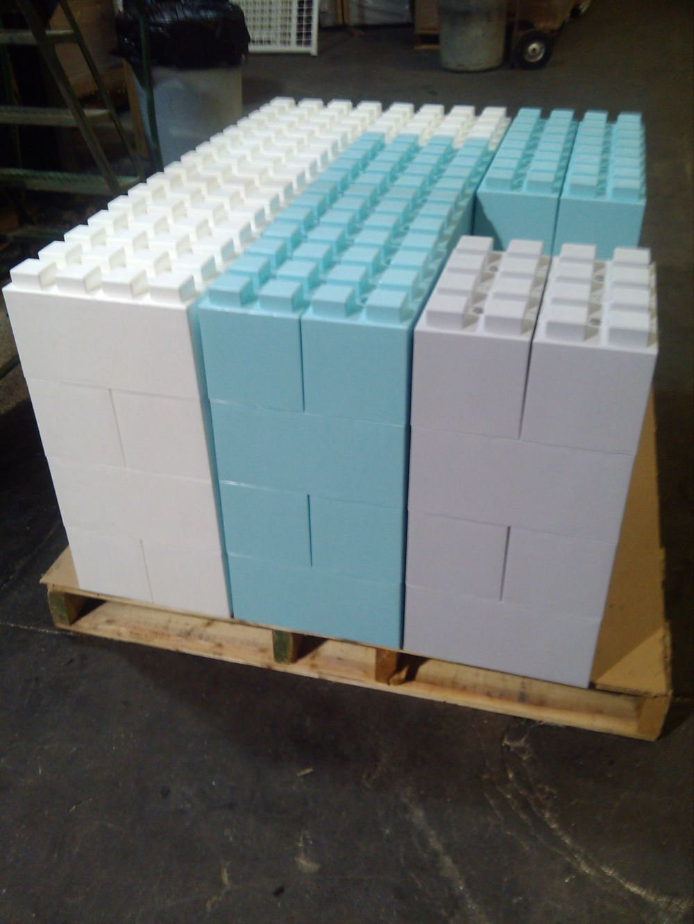 Modular blocks stack neatly on pallets for easy transport and storage