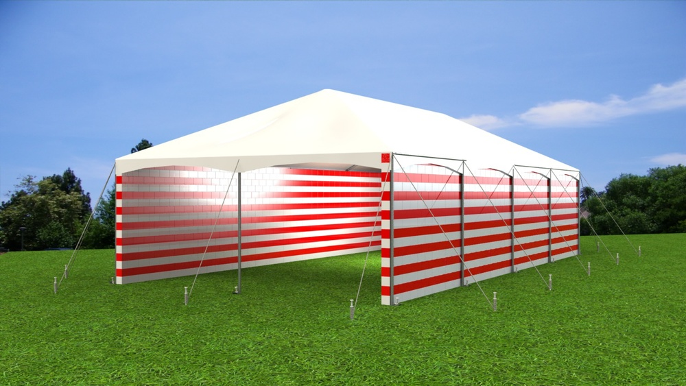 Createdramatic rigid tent sidewall in color to match event themes and corporate colors