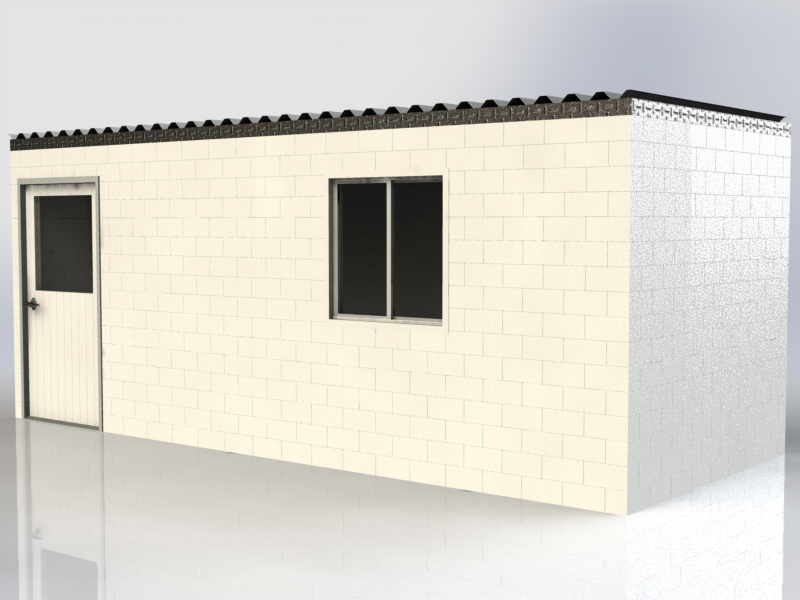 """Modular offices at construction sites, drilling sites, and especially remote sites, are all possible with EverBlock, which ships compactly to the site. The above unit ships on 6 standard 40""""x48""""x72"""" pallets. Fit 3+ units in a standard 40ft ocean container and 4+units in a standard 48ft or 53ft truck."""