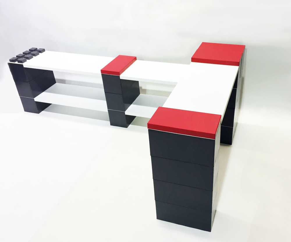 Add our pre-cut powder coated metal shelving units to any construction to create amazing modular furniture.