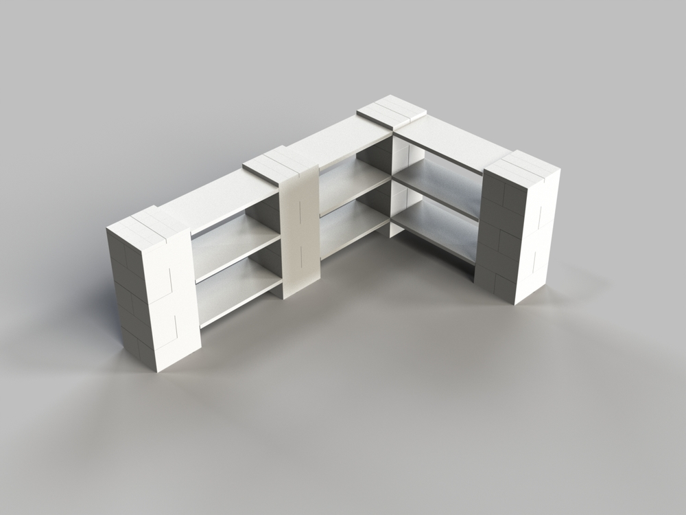 3 Level Double Corner Shelf A