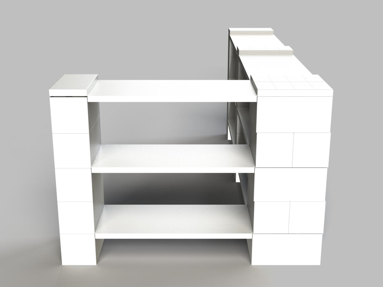 3 Level Double Corner Shelving Kit B Everblock Systems
