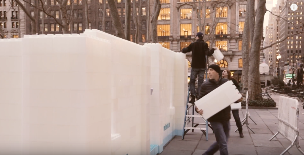 "EverBlock ""Ice"" Castle in Bryant Park NYC"