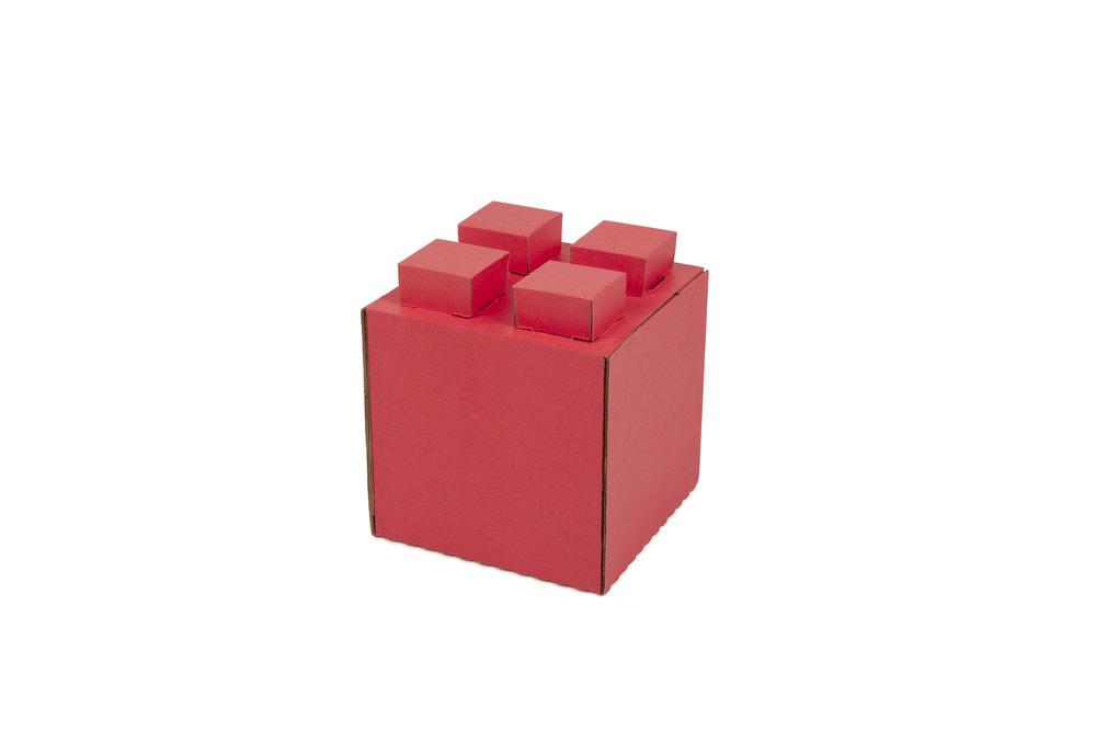 "Half-Size Cardboard Block   6""L x 6""W x 6""H (+1"" for lugs)"