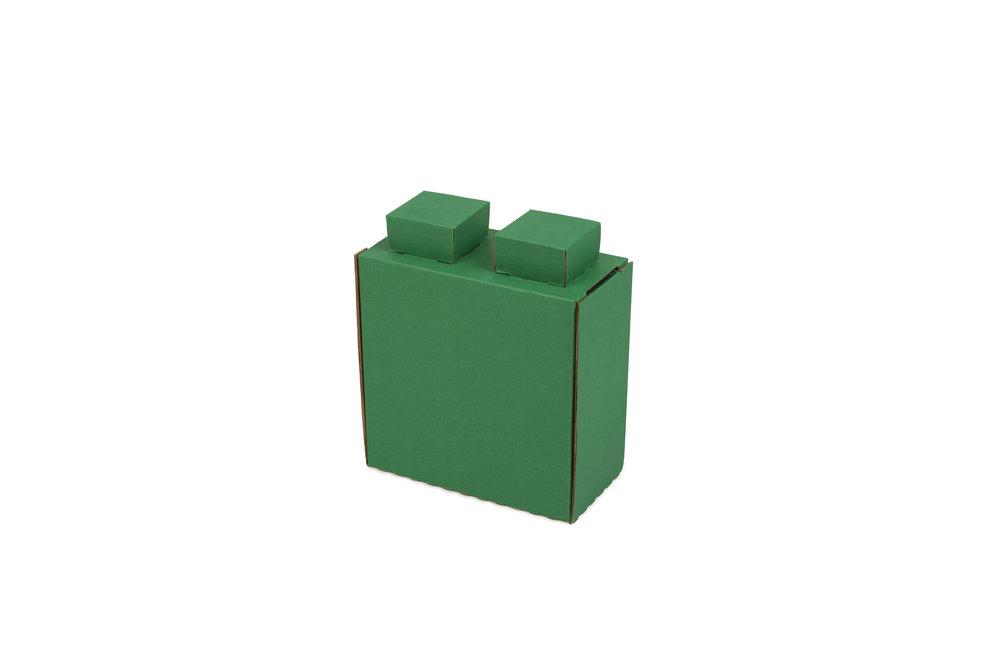 "Quarter-Size Cardboard Block   3""L x 6""W x 6""H (+1"" for lugs)"