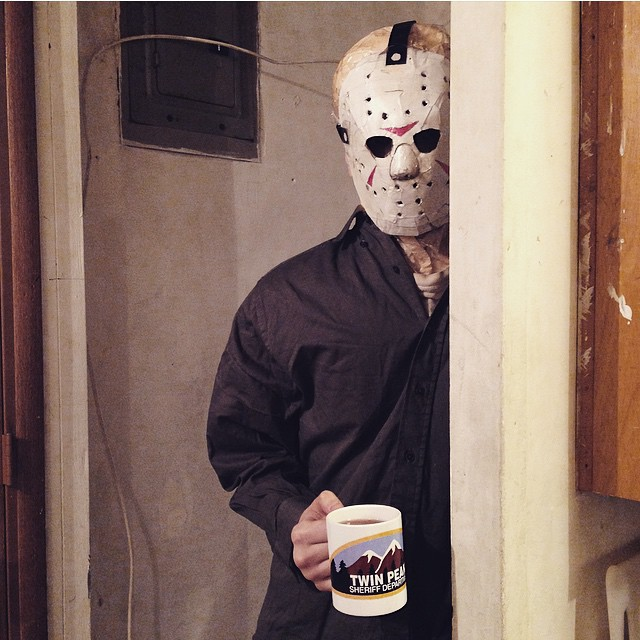 The Wolfpack would like to wish you a very happy Friday The 13th 💥💥 Enjoy your afternoon coffee!  #fridaythe13th  #thewolfpackfilm #jasonlives #papermask