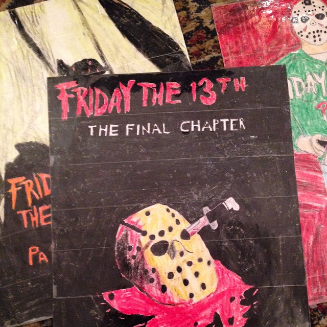 Some of The Wolfpack's crayon poster recreations for a family favorite... Friday The 13th🔪💥🔪💥 #thewolfpackfilm #fridaythe13th