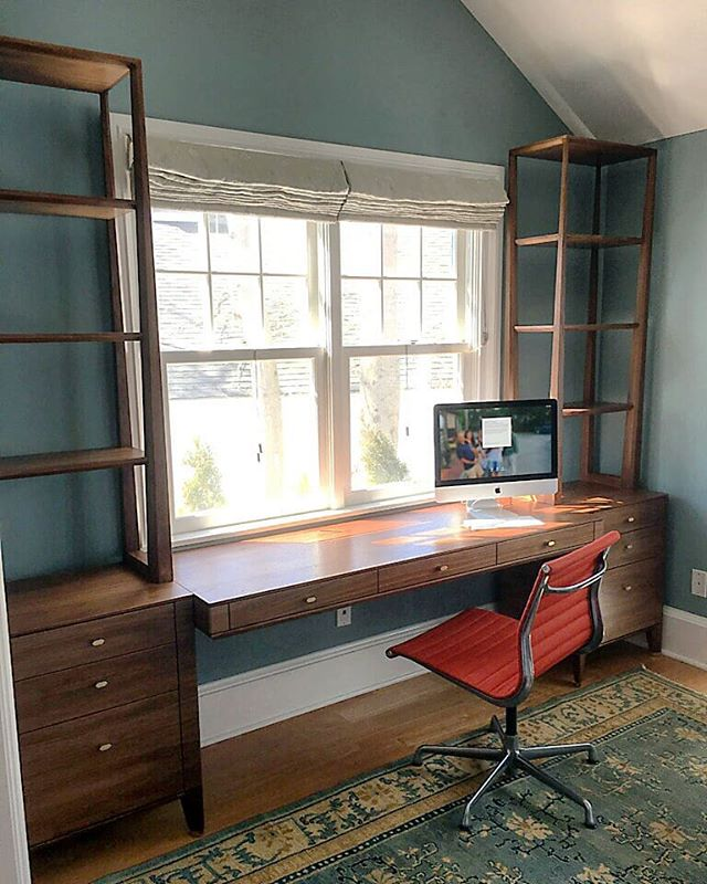Custom Walnut office unit. Floating desk between two free standing storage cabinets with shelving above. Some tricky details in this one.  #walnut #brass #finefurniture #customfurniture #customhardware #furnituredesign #bespokefurniture #interiordecor #office #storage #shelving #madeinbrooklyn #madeinnewyork